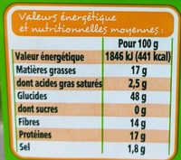 Crackers 3 Graines Bio - Informations nutritionnelles - fr