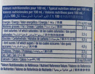 Lait entier sterilisé 1 L - Informations nutritionnelles - fr
