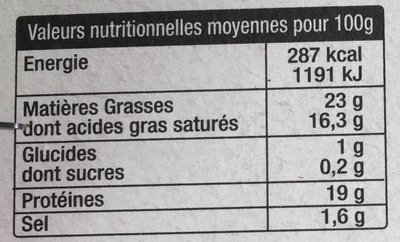 Camembert Le Kergall (23 % MG) - Informations nutritionnelles - fr