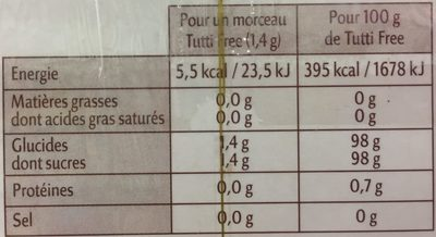 Edulcorant sucre de canne en petits morceaux - Informations nutritionnelles - fr