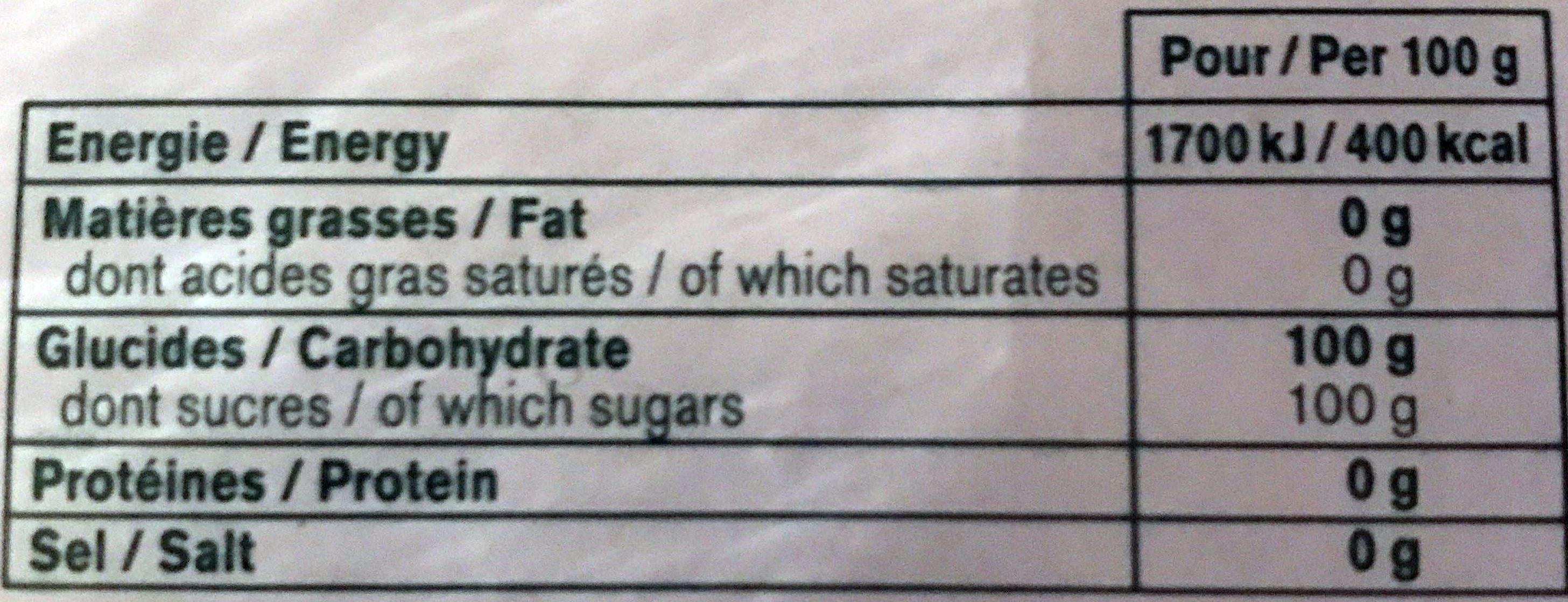 Sucre en Morceaux Longs - Informations nutritionnelles