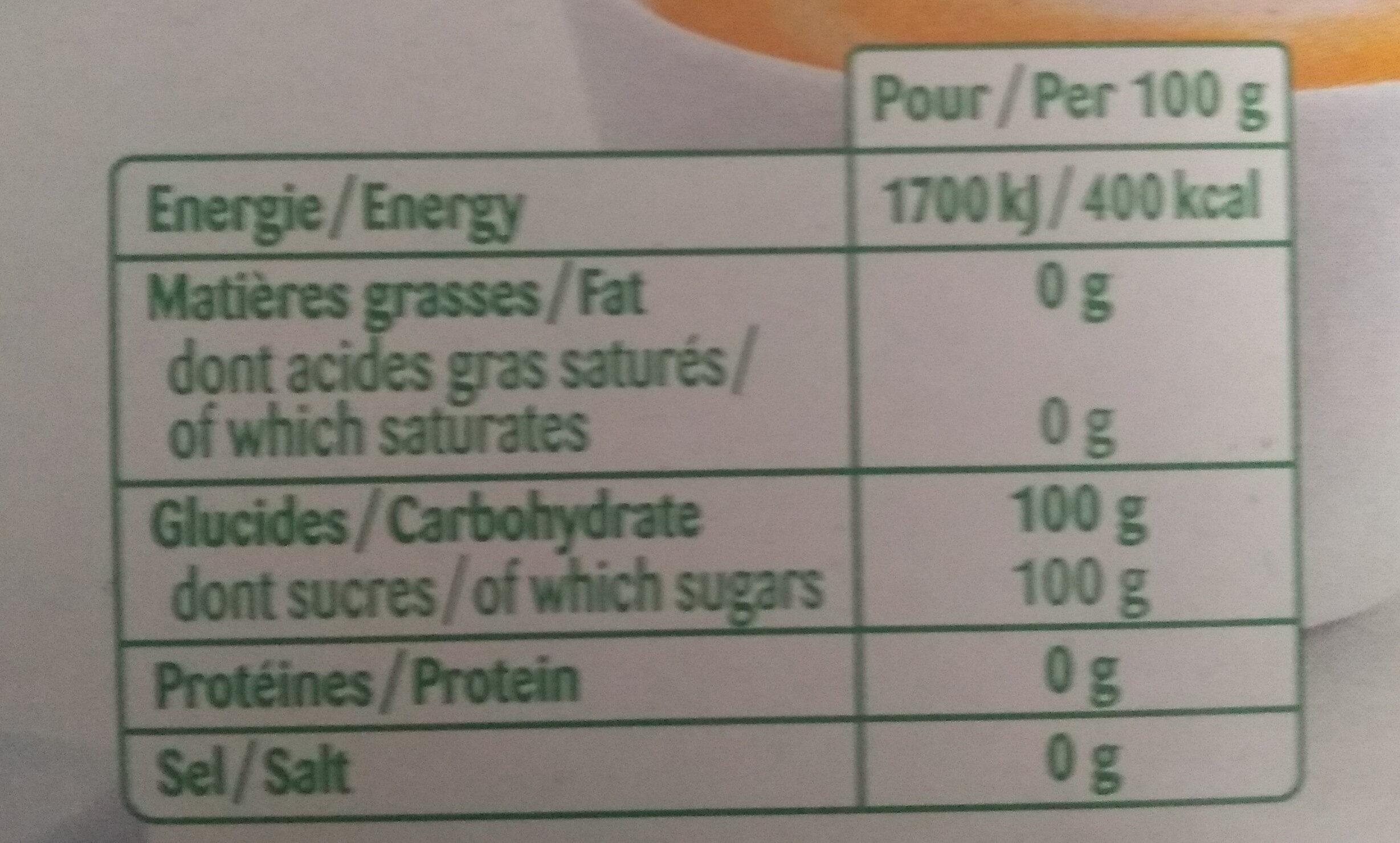 Sucre en Morceaux 1 kg - Voedigswaarden