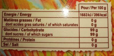 Cassonade Sucre roux de canne - Informations nutritionnelles - fr