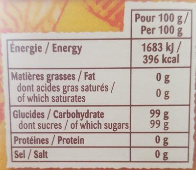 Doré de Canne en poudre - Informations nutritionnelles