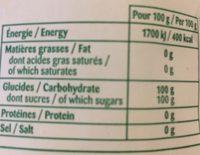 Sucre Cristal - Informations nutritionnelles - fr