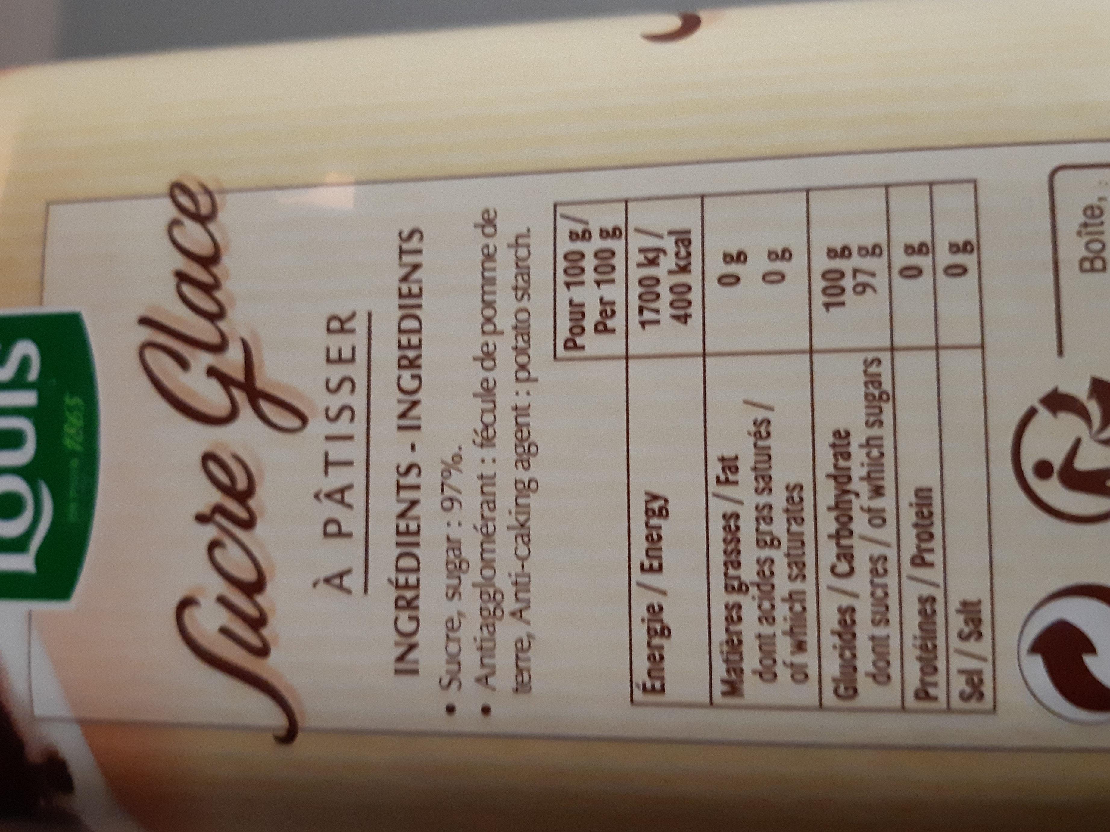 Sucre Glace à pâtisser - 1 kg - Informations nutritionnelles - fr