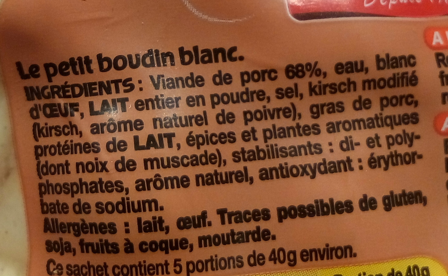 Petit Boudin Blanc - Ingrediënten - fr