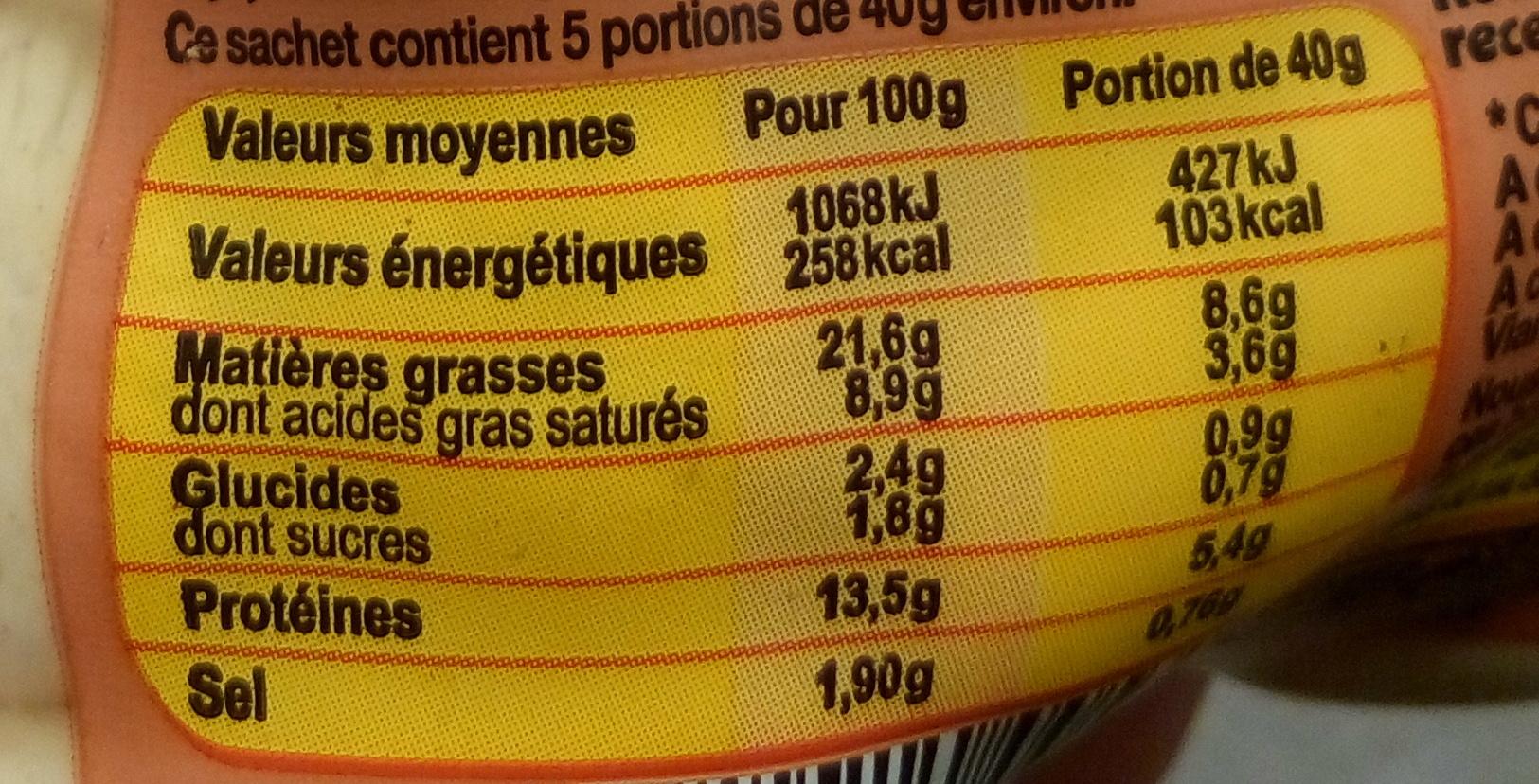 Petit Boudin Blanc - Voedingswaarden - fr