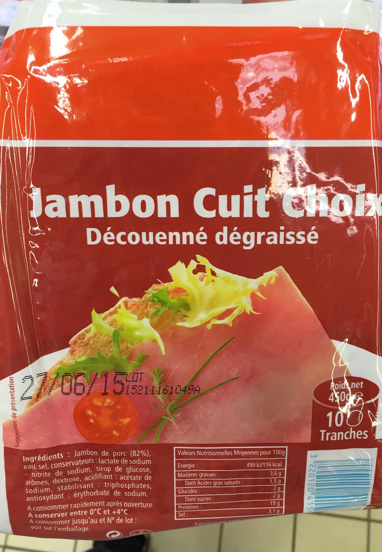 Jambon cuit choix découenné dégraissé - Produit