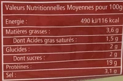 Jambon cuit choix découenné dégraissé - Informations nutritionnelles
