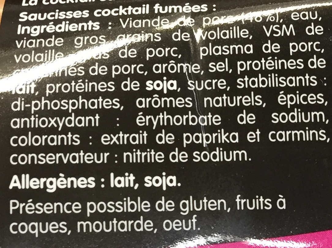 La Cocktail saveur Bacon - Ingredients - fr