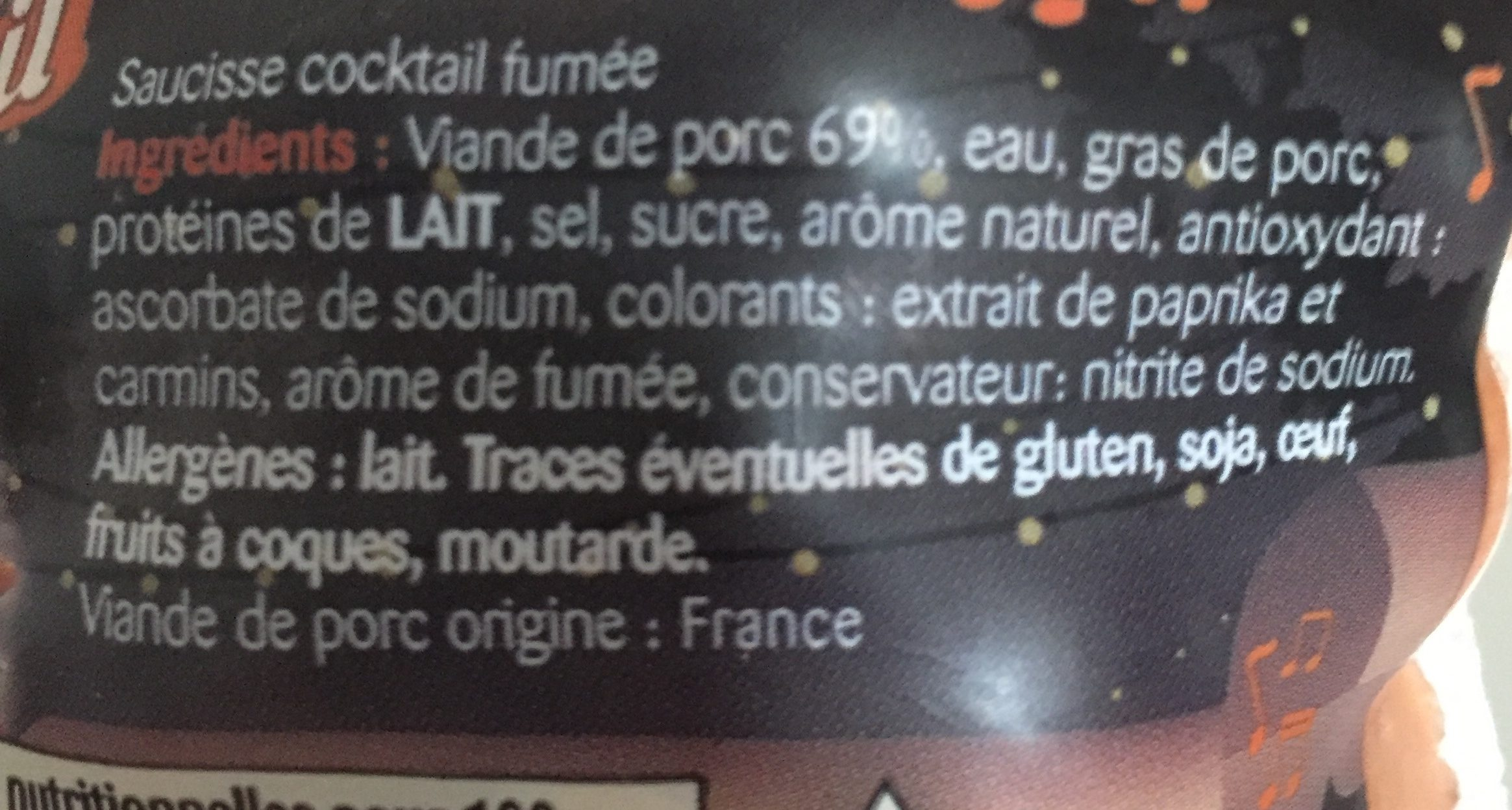 Saucisse Cocktail Nature - Ingrediënten
