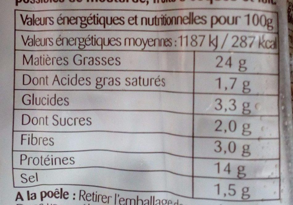 Saucisses aux légumes - Informations nutritionnelles - fr