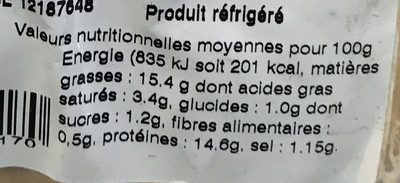 Rillettes aux saumons atlantique en poche à dresser - Voedingswaarden - fr