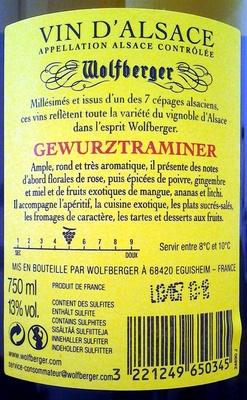 Gewurztraminer 2012 - Ingrédients