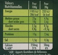 Saint Agur Crème (25 % MG) - Informations nutritionnelles - fr