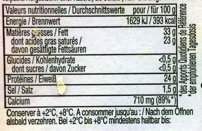 Etorki - Nutrition facts