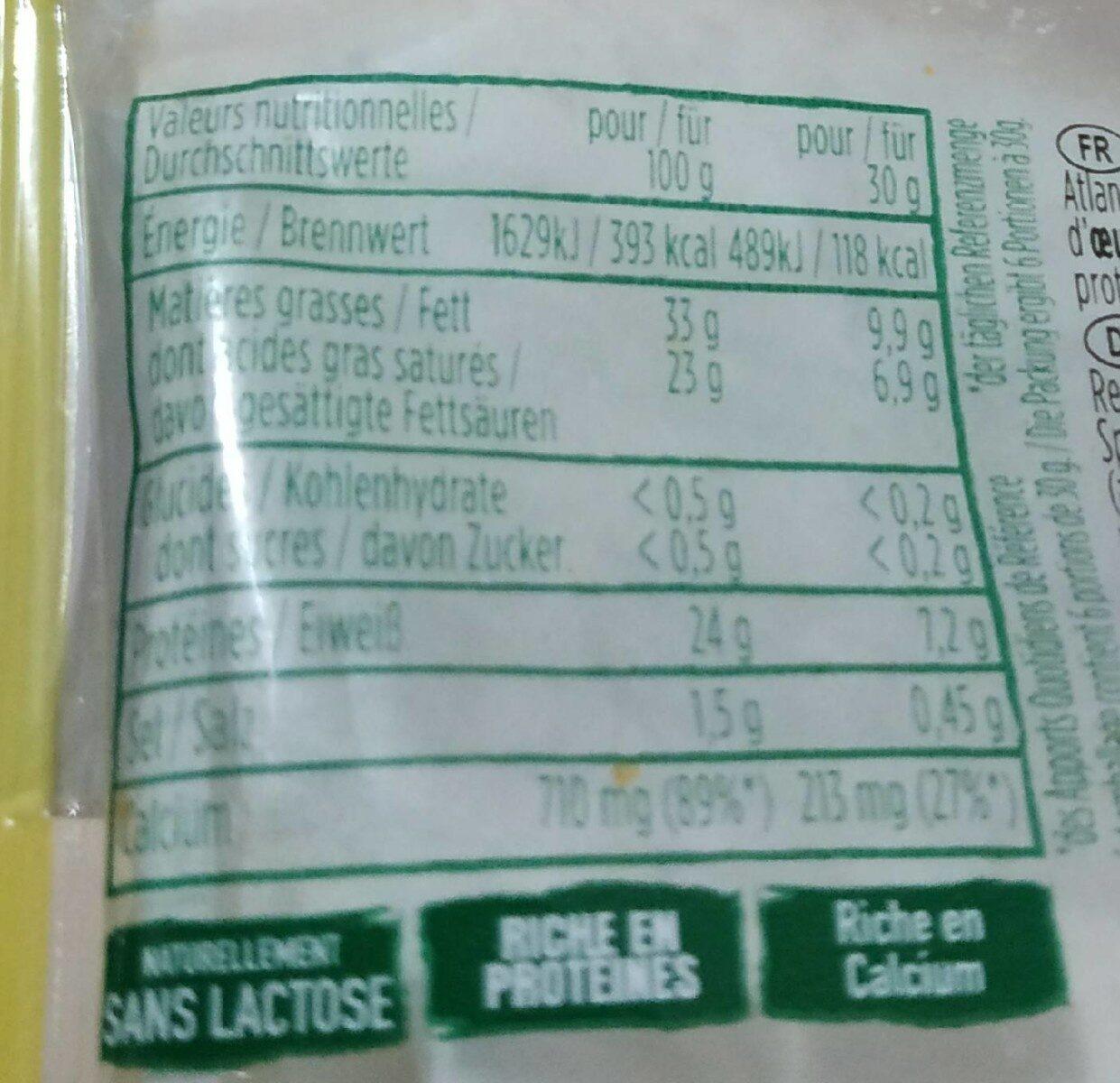 Etorki - Informations nutritionnelles - fr