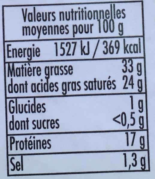 Petit Tourtain (33% MG) - Voedingswaarden - fr