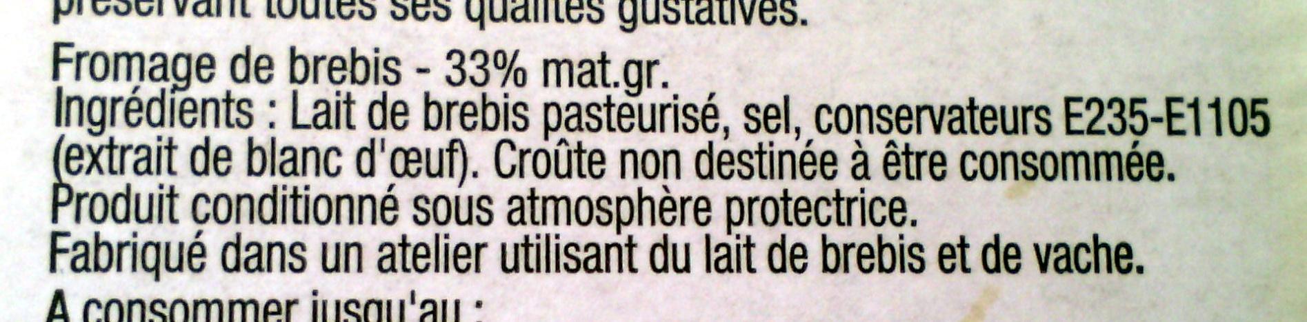 Etorki ® (33% MG) + 10% gratuit - Ingredients - fr