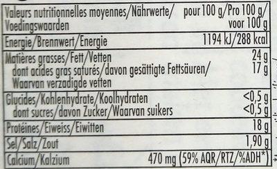 Le crémier - Voedingswaarden