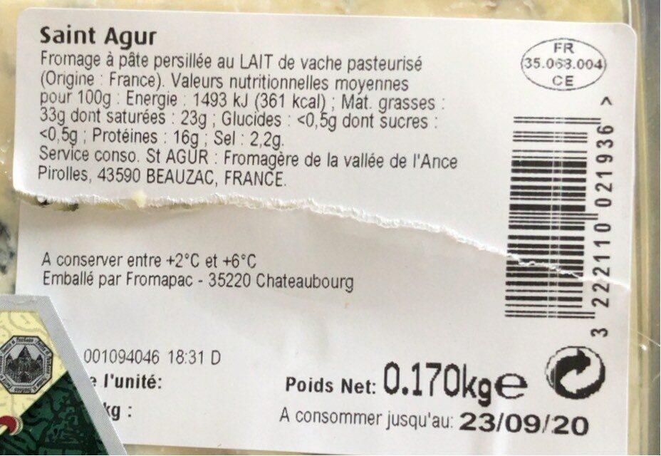 Saint Agur l'intense - Informations nutritionnelles - fr