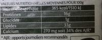 Saint Agur - format généreux - Informations nutritionnelles - fr