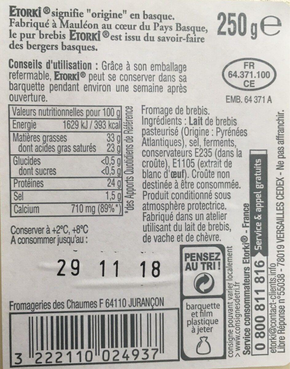 Etorki - Nutrition facts - fr