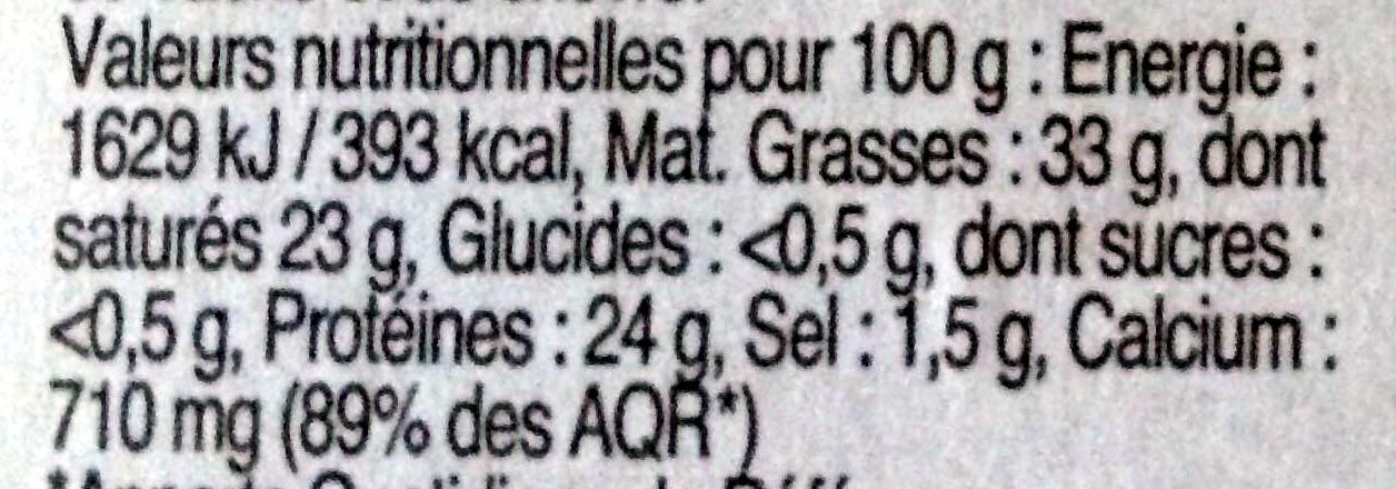 Etorki ® (33% MG) - Informations nutritionnelles - fr