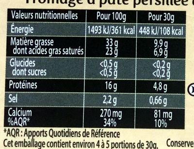 Saint Agur - Informations nutritionnelles - fr