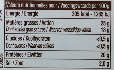 L'Original (25 % MG) - Informations nutritionnelles - fr