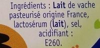 Brousse au lait entier (15% MG) - Ingredientes