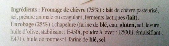 Chèvre chaud (21% MG) - Ingrédients