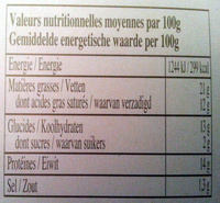 Chèvre chaud (21% MG) - Informations nutritionnelles
