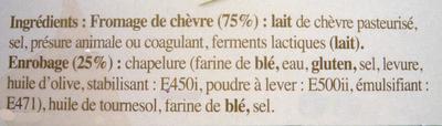 4 chèvres chauds, Prêts à Dorer (21% MG) - Ingrédients