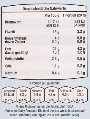 Ziegenkäsetaler natur - Nährwertangaben