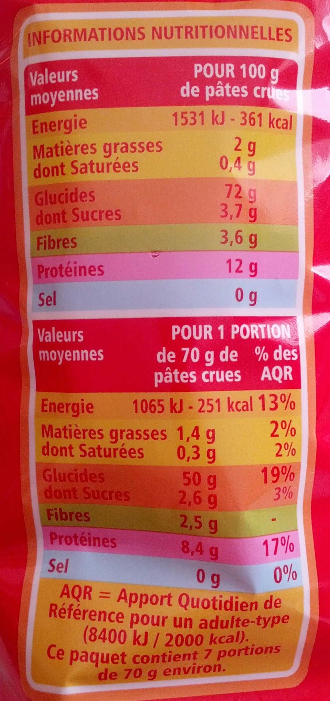 Coudes rayes - pates de qualité supérieure - Nutrition facts - fr