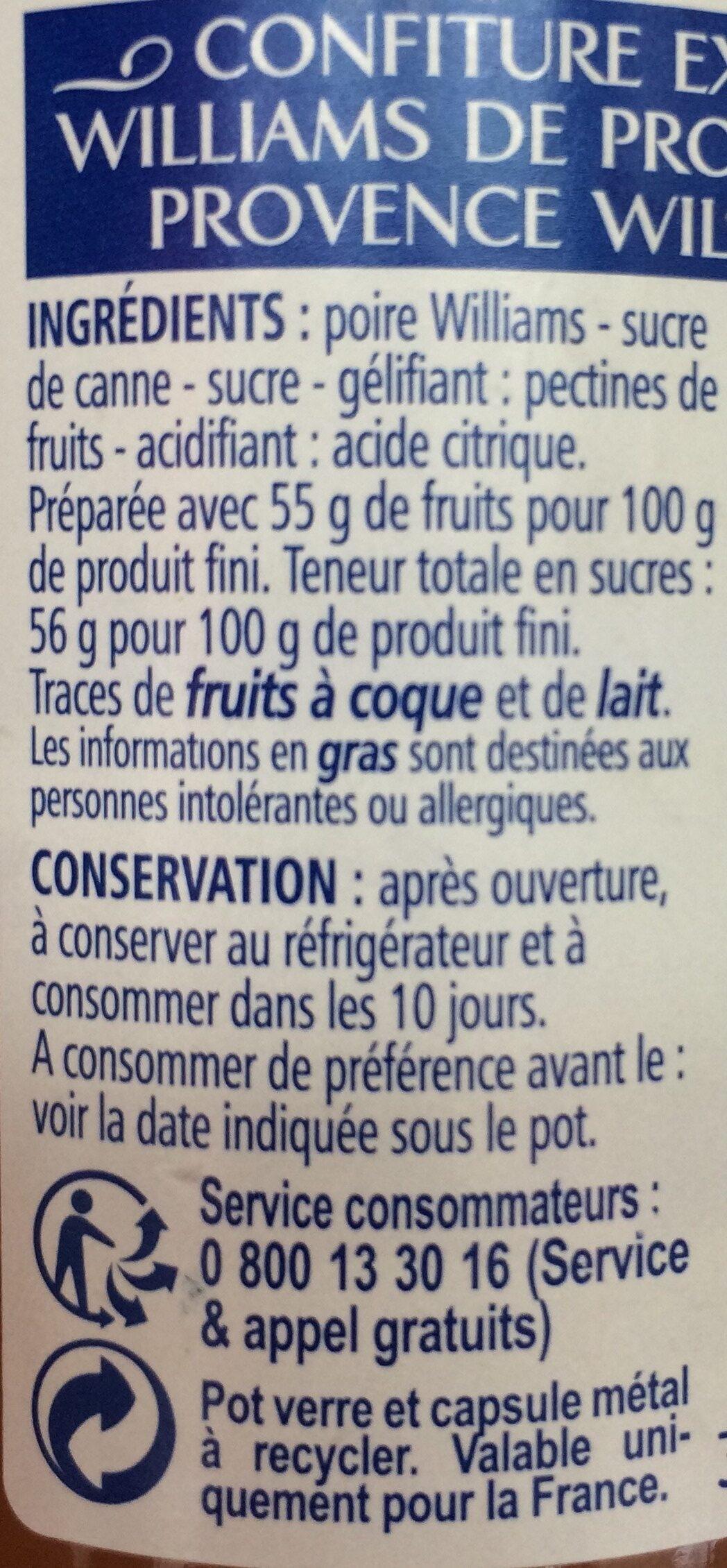 Confiture de Poire williams de Provence - Ingrédients
