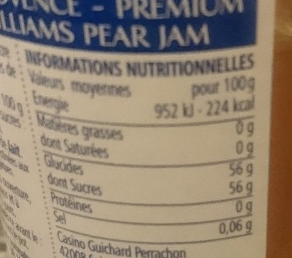 Confiture Extra de poire williams - Nutrition facts
