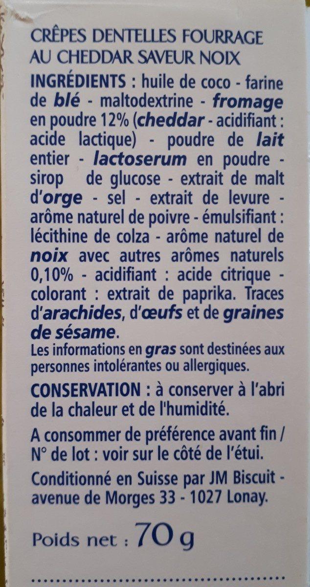 Crêpes fourrées au cheddar saveur noix - Ingredients