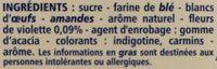 Croustillants aux éclats de violette cristallisés 50 g Guichard Perrachon - Ingredients