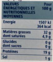Sardines à l'ancienne au piment à l'huile d'olive vierge extra - Informations nutritionnelles - fr