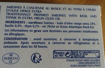 Sardines à l'ancienne au basilic et au thym à l'huile d'olive vierge extra - Ingrédients - fr