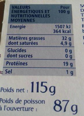 Sardines à l'ancienne au basilic et au thym à l'huile d'olive vierge extra - Informations nutritionnelles - fr