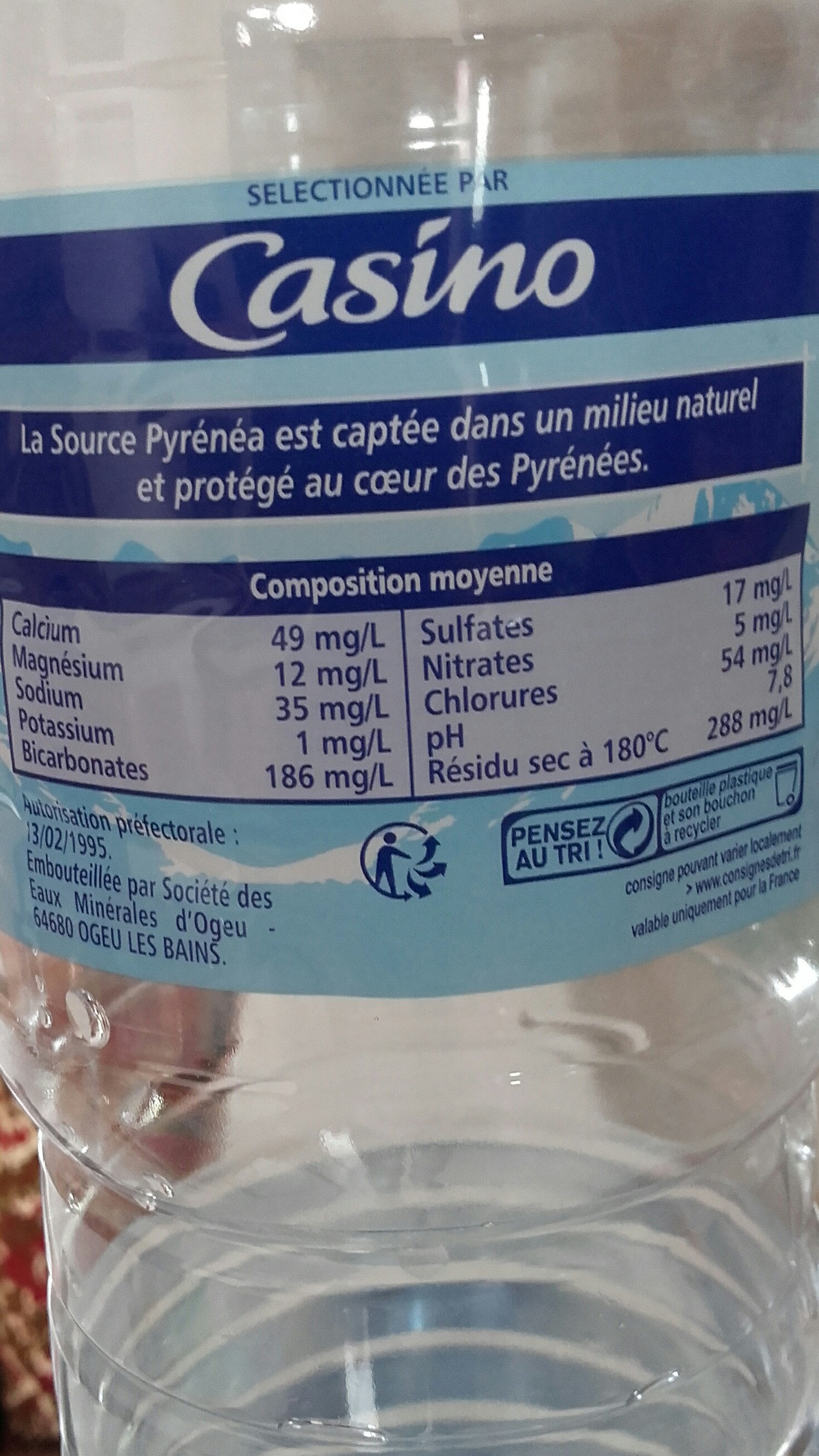Eau de source de montagne Pyrénées - Ingredients - fr