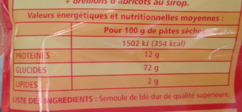 Cheveux d'ange - pâtes de qualité supérieure - Informations nutritionnelles - fr