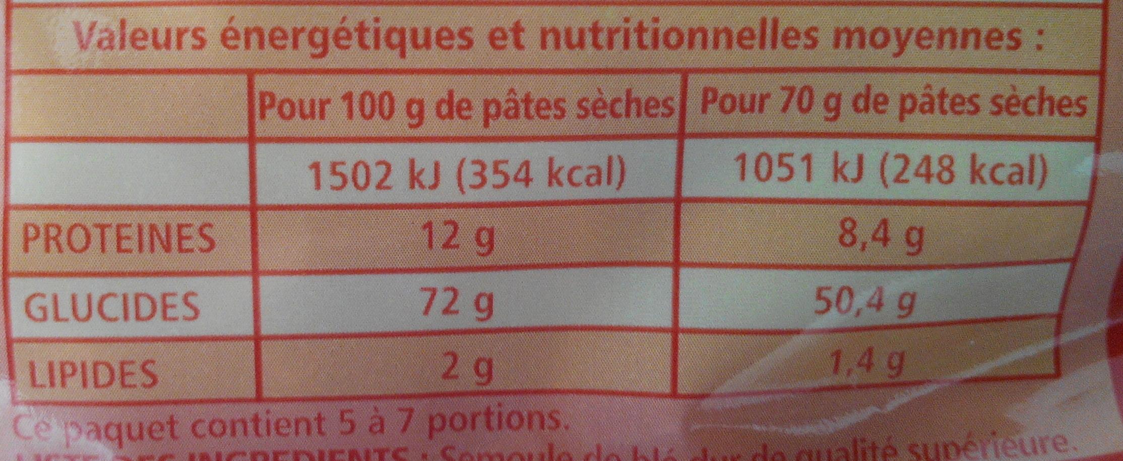 Macaroni de Qualité Supérieure - Nutrition facts - fr