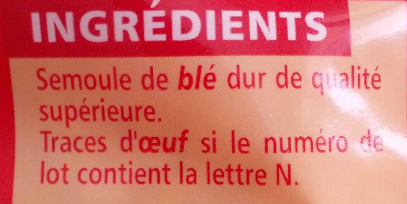 Coquillettes - pâtes de qualité supérieure - Ingrediënten - fr