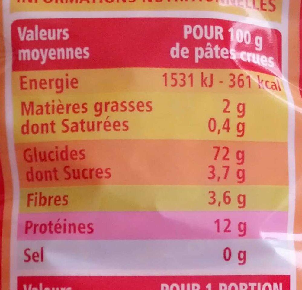 Coquillettes - pâtes de qualité supérieure - Voedingswaarden - fr