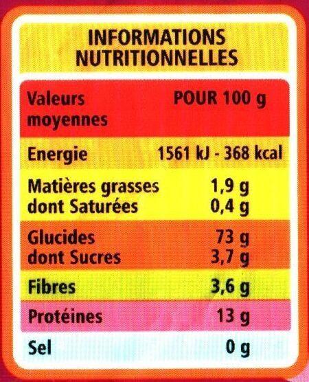 Semoule de blé fine - Informations nutritionnelles - fr